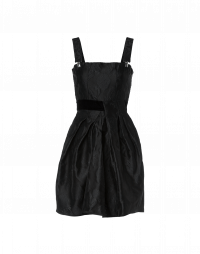 ELUDE: Mini-prom dress in black tech brocade