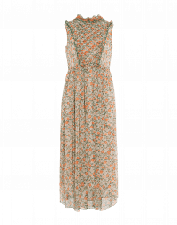 PRESENCE: Sleeveless dress in apricot floral technical georgette