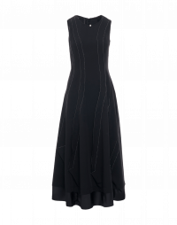 AMBITIOUS: Long black sleeveless dress with overstitched seams