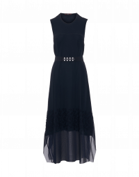 APPEALING: Navy column dress in plain and textured jersey