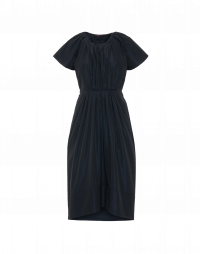FRIENDLY: Navy tech taffeta dress with pleated bodice and skirt