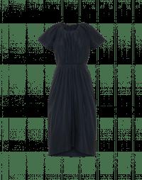 FRIENDLY: Navy tech taffeta dress with pleated bodice and skirt