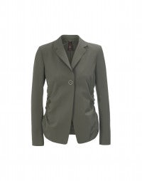 OPPORTUNIST: Khaki ruched-side stretch crêpe jacket