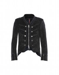HUSSAR: Navy cropped jacket in crushed velvet