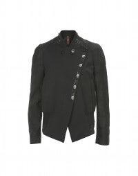DUDE: Black damask deconstructed bomber jacket