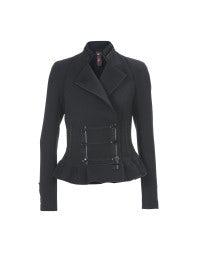 HEATHCLIFF: Navy braid stand collar twill jacket