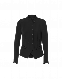 QUICK WIT: Short fitted stand collar jacket with velvet trim