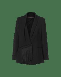 SUPERIOR: Elegante Jacke mit Schalkragen und Fransen