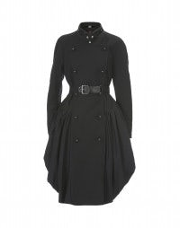MAZURKA: Cappotto in cavalry twill nero con gonna arricciata