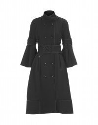 ZHIVAGO: Black cavalry twill bell sleeve coat