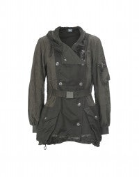 MUFTI: Khaki tech short parka-jacket