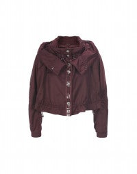 SCUTTLE: Burgundy hooded short jacket