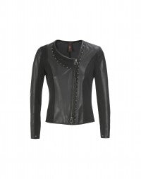 APLOMB: Black tech leather and jersey fitted jacket