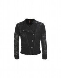 OUTWIT: Black tech lace biker jacket