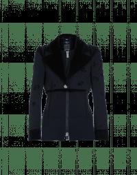 OPEN-UP: Giacca-cardigan in eco-pelliccia, twill e maglia tecnica