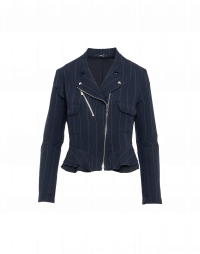 ROWDY: Biker style navy pinstripe jacket