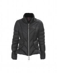 STRATUS: Black superfine chevron down jacket