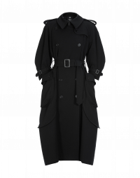 DIALECT: Black twill trench coat
