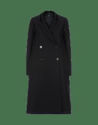 FOUNDER: Black A-line tech-herringbone coat