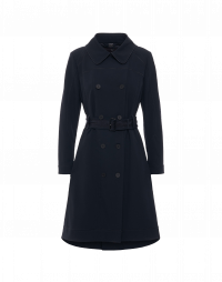 STATURE: Double breasted trench coat in navy technical twill