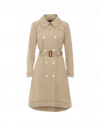 STATURE: Double breasted trench coat in taupe technical twill