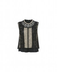 ROSSETTI: Black-gold tech lace tank