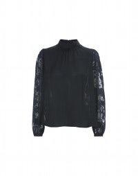 CELESTE: Navy fil coupé sleeve and back blouse