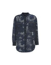 REPORTER: Navyblaue Bluse mit Tarnmuster-Laserschnitt