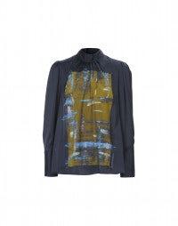 CELESTE: Artist's print navy blouse
