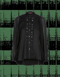 PRETENSE: Camicia nera con maniche in voile