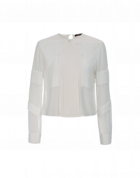 TRUSTED: Multi pleated panel top in white