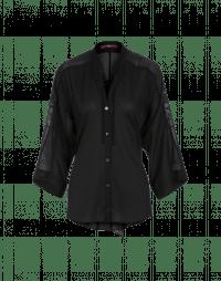 STUN: Top a kimono nero in georgette e voile tecnici
