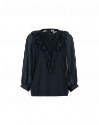 ELATED: Navy voile and lace top with ruffles