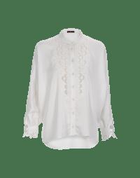 NICETY: Camicia bianca con pettorina effetto pizzo