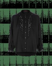 NICETY: Camicia nera con pettorina effetto pizzo