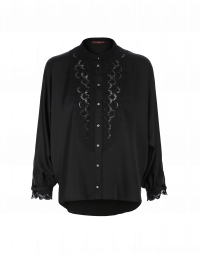 NICETY: Black satin tuxedo shirt