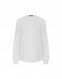 SUPPOSE: White shirt in tech georgette and tech satin
