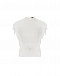 ANECDOTE: Ivory cap sleeve top in tech georgette