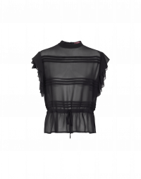 ANECDOTE: Black cap sleeve top in tech georgette