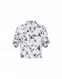 CHANCE: Short fitted shirt in navy and white print
