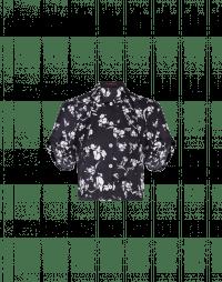 CHANCE: Camicia blu in raso tecnico con motivo floreale bianco