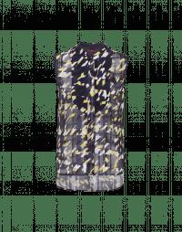 SYNOPSIS: Sleeveless printed shirt in tech chiffon and jersey