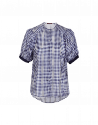 APT: Navy and white tech gingham short sleeve shirt