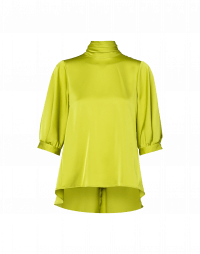 MEET UP: Hi-neck top in chartreuse tech satin