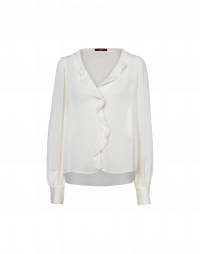 HINT:  V-neck shirt with ruffle front