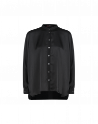 NICETY: Black satin long tailed shirt