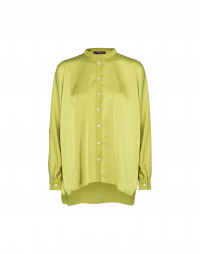 NICETY: Chartreuse satin long tailed shirt