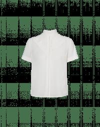 DIVERT: Short sleeve top in ivory technical crêpe