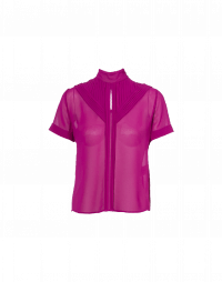 DIVERT: Short sleeve top in cyclamen technical crêpe