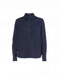 VIGIL: Fly front shirt with pleated tuxedo bib